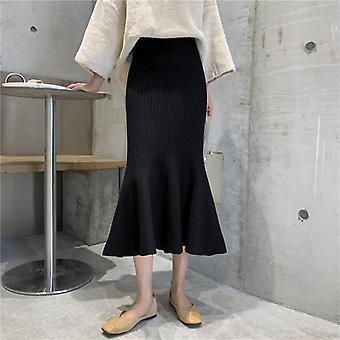 Πλεκτό γοργόνα φούστα, γυναίκες φθινόπωρο χειμώνα Bodycon slim βολάν φούστες, υψηλή