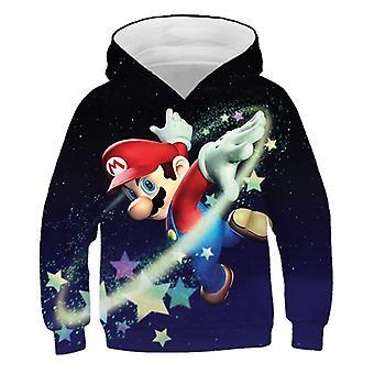 Fashion Cute Print Super Mario Hoodie Kids Casual Clothes Pullover Sportswear