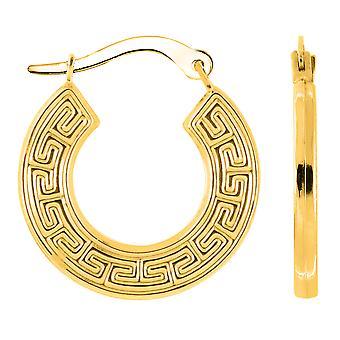 ك 14 الأصفر الذهب جولة اليونانية الرئيسية هوب أقراط، قطرها 15 ملم