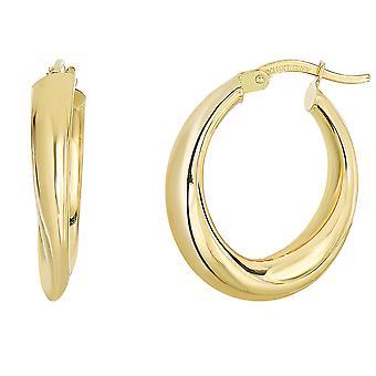 14K geel gouden afgestudeerd ovale vorm Hoop Earrings Hoop Earrings
