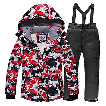 Windproof Warm Fleece Snow Suit, Including Jacket And Pants