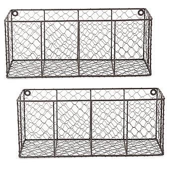 Dii pared montaje de la cesta de alambre de pollo (conjunto de 2) Med