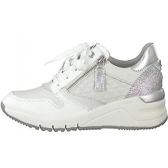 Weißes Leder flache Schuhe