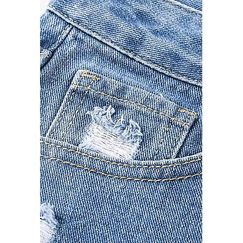Style Holes Blue Distressed Mom Jeans