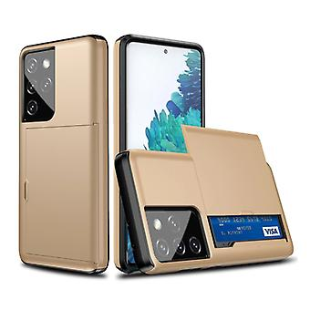VRSDES Samsung Galaxy A31 - Wallet Card Slot Cover Case Case Business Gold