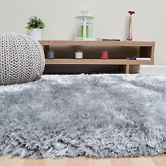 Pluche Shaggy tapijten In zilver