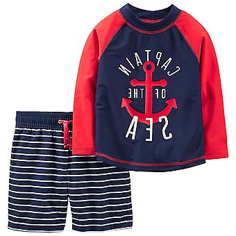 Simple Joys by Carter's Baby Boys' 2-Piece Swimsuit Trunk and Rashguard, Red ...