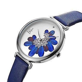 SHENGKE SK K0123 Leaves Pattern Crystal Flowers Female Fashion Elegant Women La