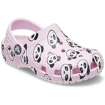 Crocs Girls Classic Panda Print Clogs