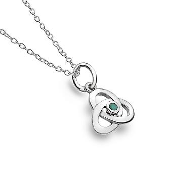 Collier Sterling Silver Pendentif - Celtic Knot + Synthetic / Turquoise Fac