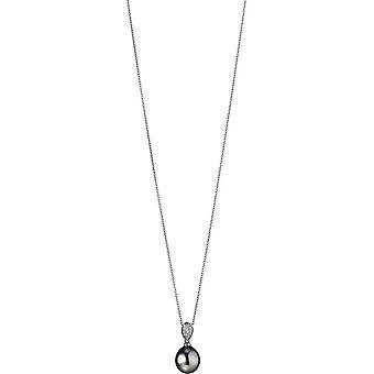 Collana Adriana Pearl Tahiti nero 9-10 mm catena di ancoraggio argento 50 cm S23-S