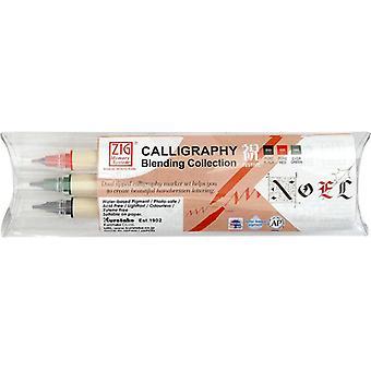 Kuretake Zig Calligraphy Pens - 3 Colour Blending Set - Festive Christmas