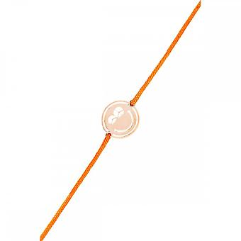 Smiley pink vermeil cord bracelet and orange cord 'apos;Peace and Love'
