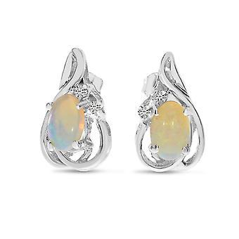 LXR 14k White Gold Oval Opal and Diamond Teardrop Earrings 0.3