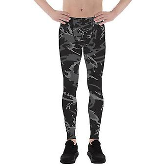 Mens Leggings - Black Camo Leggings