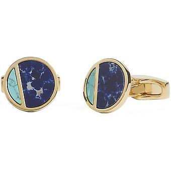 Simon Carter Sodalite and Howlite Eclipse Cufflinks - Gold/Blue