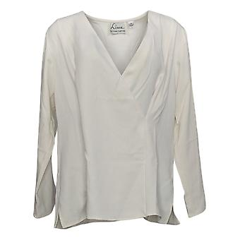 Linea by Louis Dell'Olio Women's Top Wrapover Blouse Ivory A390846