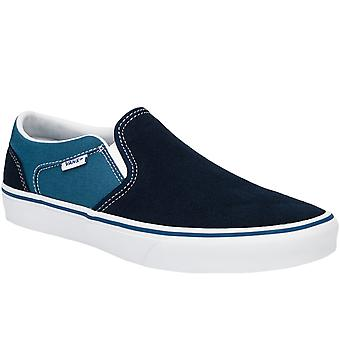 Vans Mens Asher Retro Sport Slip On Suede Canvas Pumps Trainers Shoes - Navy