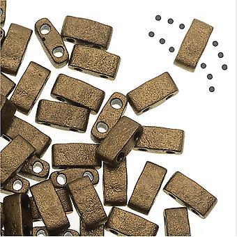 Miyuki Half Tila 2 отверстия прямоугольные бусины 5x2,3 мм Матовая металлическая бронза 7,8 грамма