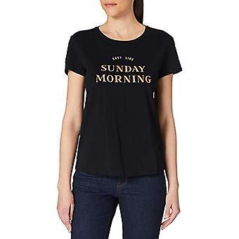 TOM SKRÄDDARE Denim 1023872 Broderi T-Shirt, 14482-Deep Black, XS Kvinnor