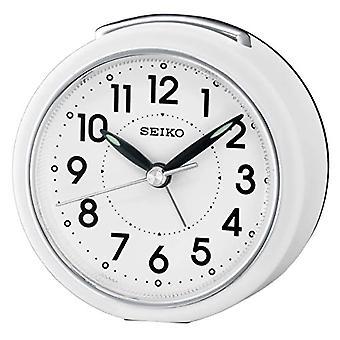 Seiko QHE125W, Analog Plastic Alarm Clock, White