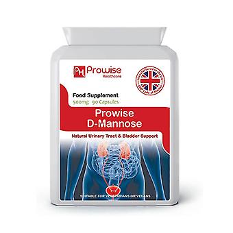 D-Mannose 500mg 90 Capsules | Suitable For Vegetarians & Vegans | Made In UK by Prowise