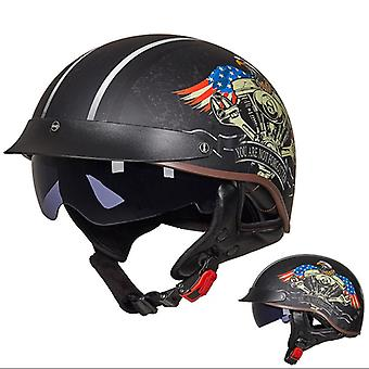Motorcycle Open Face Retro Visor Crash Half Helmet With Sun Visor (USA Eagle)