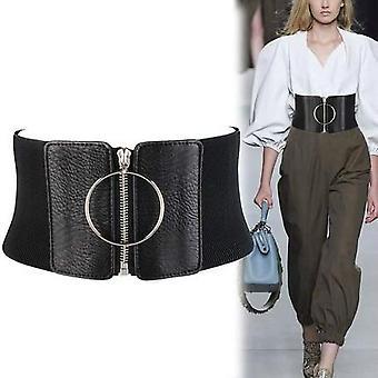 Weibliche Big Metal Kreis Ring schwarz Taille Strap Ultra breiten Gürtel für Kleider