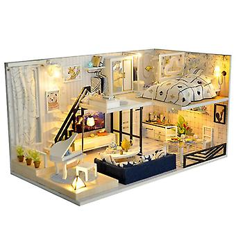 Diy dollhouse miniature with furniture manual assembly model house birthday gift building model-td-32