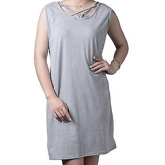 Αμάνικο κοίλο ψηλόμεσο λεπτό φόρεμα U-λαιμό φόρεμα cross-belt καλοκαίρι