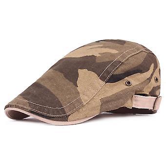 Beret Men's Camouflage Flat Cap  Adjustable Cap Casual Breathable Bone Brim Hats