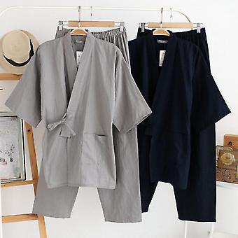 Men's Cotton Kimono Sleepwear Robe & Pants Set