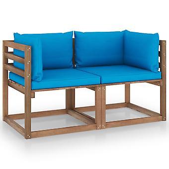 vidaXL Garden Pallet Soffa 2-sits med kudde Ljusblå Furu Trä