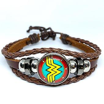 Bracelet fait à la main cuir brun wonder woman symbole