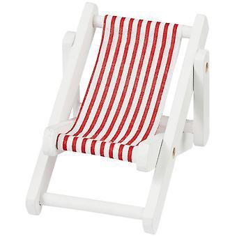 10cm rød og hvit stripet fluktstol for miniatyrverdener