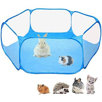 Small Animals Cage Tent, Breathable & Transparent Pet Exercise Fence(Blue)