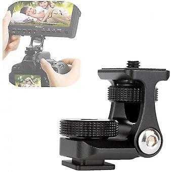 "Camera Monitor Mounting Bracket Adjustable Angle 1/4"" Thread Ballhead Dslr Cold Shoe Adapter Attach"