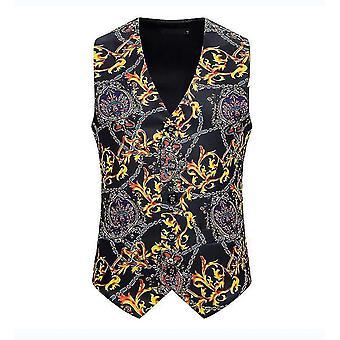 Pánská černá korunka potištěná jednořadová vesta gothic steampunk viktoriánská brokátová vesta(L)