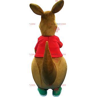 Mascotte REDBROKOLY.COM de gros kangourou marron