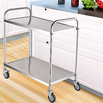 Chariot de service de cuisine en acier inoxydable à 2 niveaux avec roues
