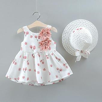 Cotton Flower Bow Hat Sleeveless Dresses