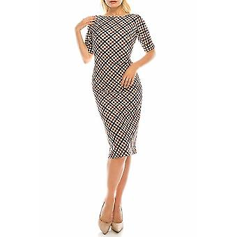 Khaki Wine Diagonal Plaid Printed Sheath Dress