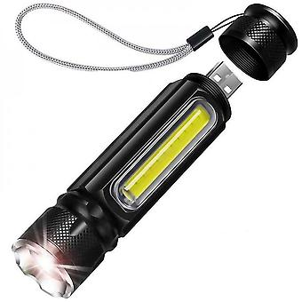 50000lm Led Flashlight T6 Cob Zoomable Torch Work Light Tail With Magnet 4 Modes