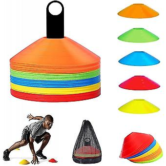 50 Football Marking Pads, Disk-shaped Cones For Football Workout, Training Help For Coordination