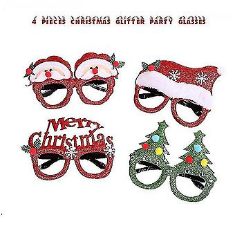 4 Pieces Of Christmas Glasses Frame And Headband Cute Headband Decoration Accessories Christmas Party Gift Set
