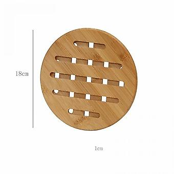 2 Pieces Of Thick Bamboo Insulation Pads For Household Use For Dining Table (medium Size 18cm)