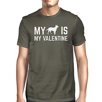 Mój pies mój Men Valentine's ciemno szara Koszulka Bawełniana koszula ściągacz wokół szyi