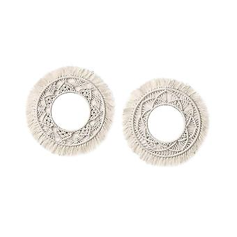 Home decor decals 2pcs round cotton rope tapestry handmade exquisite bohemian macrame for home corridor decoration