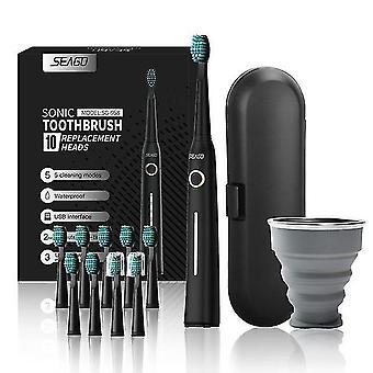 Seago ystäville ladattava sähköhammasharja ääni hammasharja matkalaatikko kannettava taitto kuppi