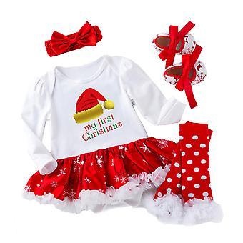 4pcs Baby Girls Christmas Dress+socks+headband+shoes Outfits